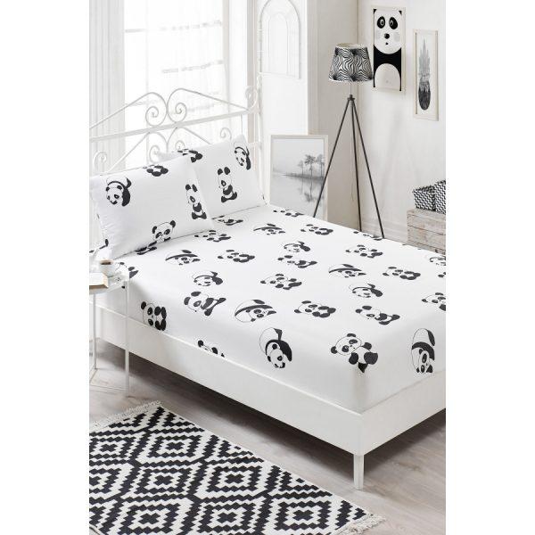 купить Простынь на резинке с наволочками Eponj Home B&W - Panda