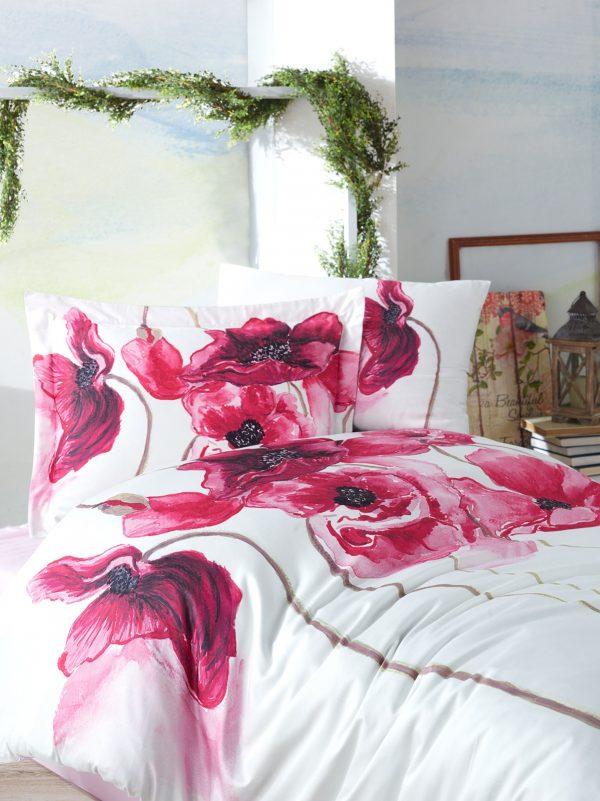 купить Постельное белье 3D Cатин - Dantela Vita SARAH Красный|Розовый фото