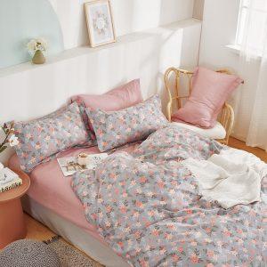 купить Постельное белье Bella Villa Сатин B-0290 Серый|Розовый фото