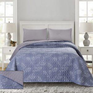 купить Покрывало стеганное ТМ Bliss С-0063 Синий|Серый фото