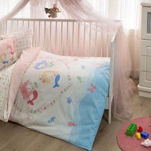 купить Детское постельное белье в кроватку TAC Mermaid Pink Розовый фото