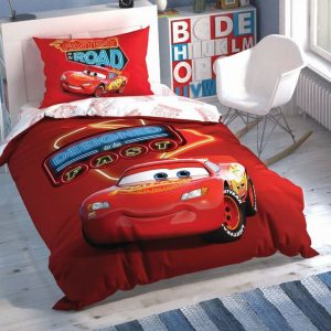 купить Детское светящееся постельное белье TAC Cars Shiny Road Красный фото