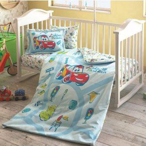 купить Детское постельное белье в кроватку TAC Disney Cars Traffic Голубой фото