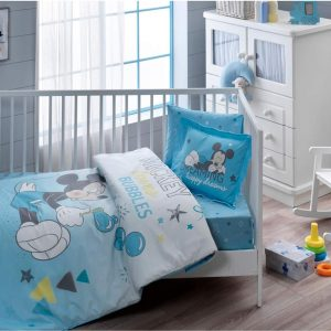 купить Детское постельное белье в кроватку TAC Disney Mickey Bubble Baby Голубой фото