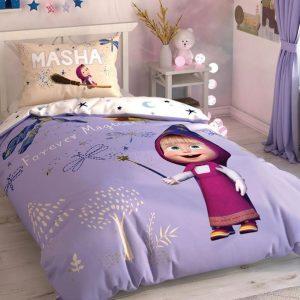 купить Детское постельное белье TAC Masha and Bear Magical Сиреневый фото