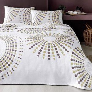 купить Летнее постельное белье с Пике TAC Moon Brown Бежевый фото