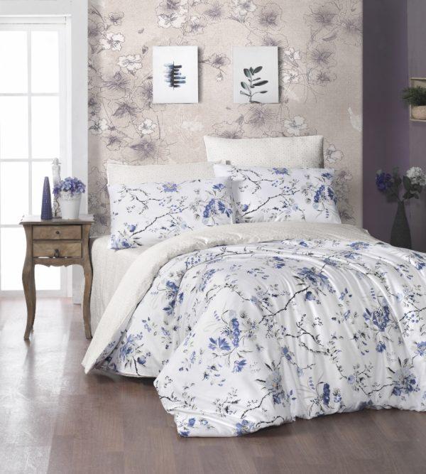 купить Постельное белье First Choice satin aqua series eva navy blue Голубой фото