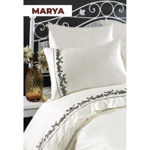 купить Постельное белье Arya Сатин с вышивкой Marya Кремовый фото