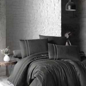 купить Постельное белье First Choice сатин де люкс stripe style anthracite (smoke) Серый фото