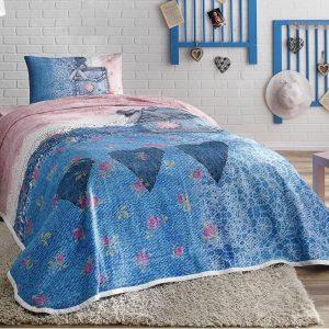 купить Летнее постельное белье с Пике TAC Lacy Синий фото