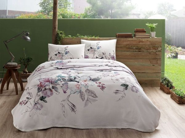 купить Летнее постельное белье с Пике TAC Lucina Pink Сиреневый фото