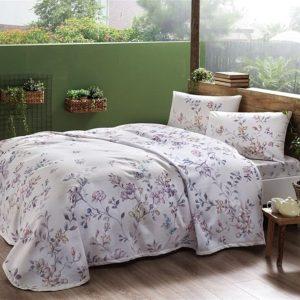 купить Летнее постельное белье с Пике TAC Julianne Pink Сиреневый фото