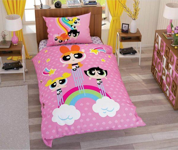 купить Детское постельное белье TAC Power Puff Girls Stars Розовый фото