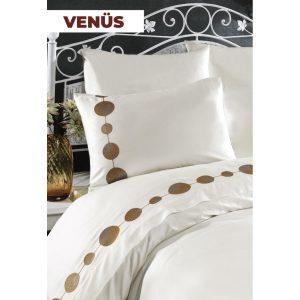 купить Постельное белье Arya Сатин с вышивкой Venus Кремовый фото