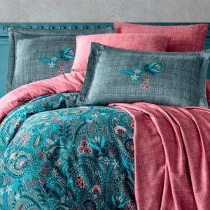купить Постельное белье Hobby Home Exclusive Sateen ESTELA grey Бирюзовый фото
