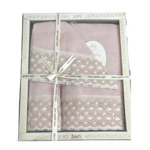 купить Набор махровых полотенец Sikel лен кружево Lace пудровый