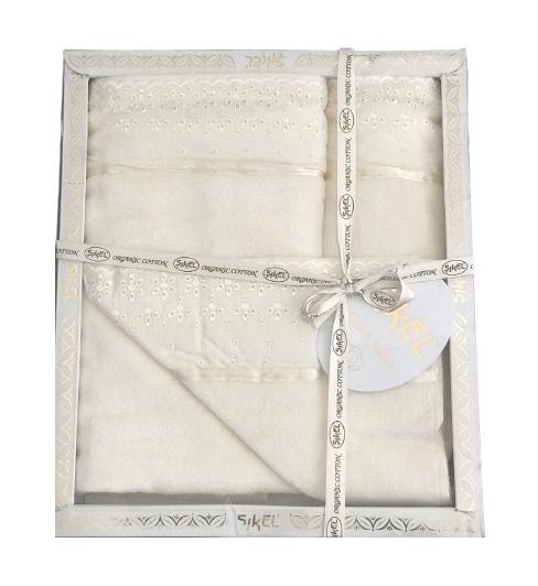 купить Набор махровых полотенец Sikel лен кружево Grace кремовый