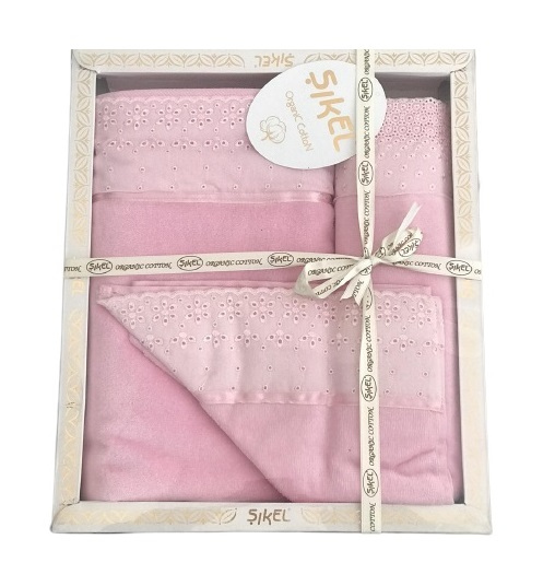 купить Набор махровых полотенец Sikel лен кружево Grace розовый