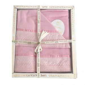 купить Набор махровых полотенец Sikel лен кружево Flowers розовый