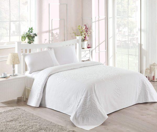 купить Махровое покрывало-простынь TAC Dama White