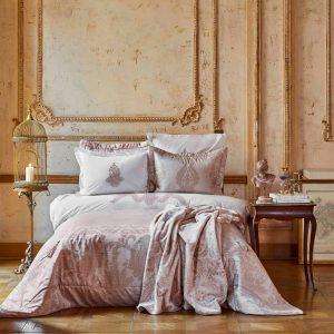 купить Постельное белье с покрывалом и пледом Karaca Home Adrila rosegold Розовый фото