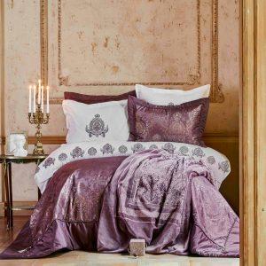 купить Постельное белье с покрывалом и пледом Karaca Home Ilona murdum Фиолетовый фото