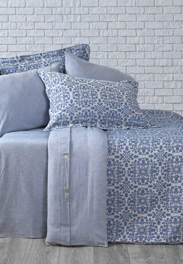 купить Постельное белье Buldans Mabel indigo king size Голубой фото
