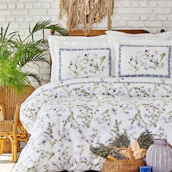 купить Постельное белье Karaca Home ранфорс Calantha mor Зеленый фото