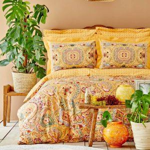 купить Постельное белье Karaca Home ранфорс Manas hardal Желтый фото