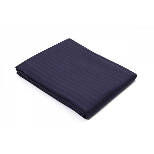 купить Простынь на резинке Lotus Отель Сатин Страйп 1*1 темно-синий