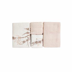 купить Набор полотенец Karaca Home-Lenny bej-offwhite 4шт