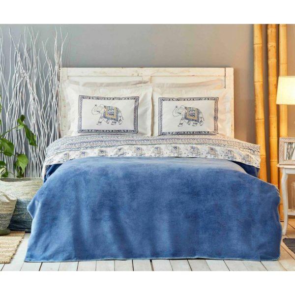 купить Постельное белье с пледом Karaca Home-Aleka indigo Синий фото