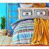 купить Постельное белье с покрывалом пике Karaca Home-Perez hardal pike jacquard Синий|Бежевый фото