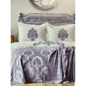 купить Постельное белье с покрывалом и пледом Karaca Home-Adrienne gri Серый фото