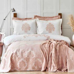 купить Постельное белье с покрывалом и пледом Karaca Home-Adrienne pudra Розовый|Бежевый фото