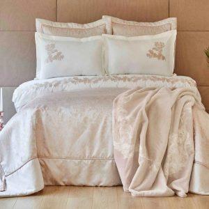 купить Постельное белье с покрывалом и пледом Karaca Home-Jessica rosegold Белый|Золотой фото