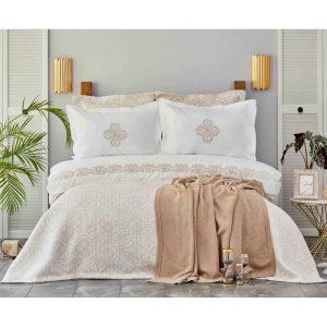 купить Постельное белье с покрывалом и пледом Karaca Home Privat-Celine gold Кремовый|Бежевый фото