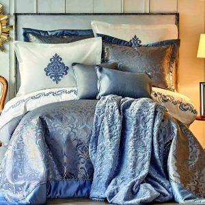 купить Постельное белье с покрывалом и пледом Karaca Home-Queen safir Синий фото