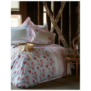 купить Постельное белье Karaca Home-Haley blue Голубой Розовый фото