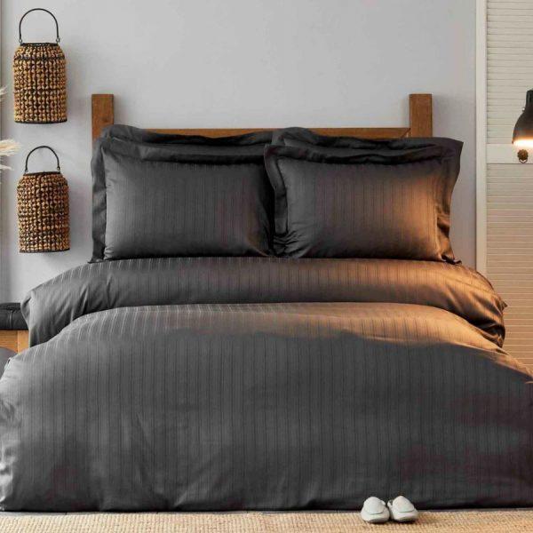 купить Постельное белье Karaca Home сатин-Charm bold antrasit Черный|Серый фото