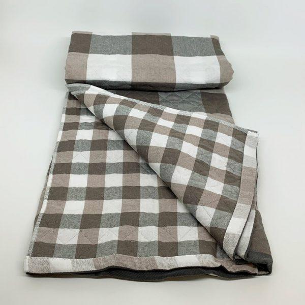 купить Плед хлопок SOFT COTTON brown Серый|Коричневый фото