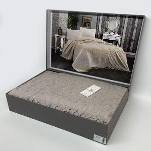 купить Покрывало-простынь махровое DIAMOND MALVINA GREY Бежевый фото