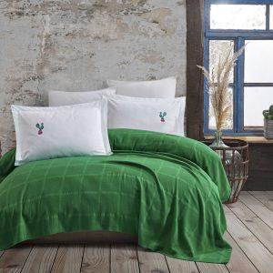 купить Постельное белье с Пике Hobby Home Rainbow Pike Yesil Зеленый фото