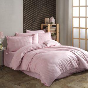 купить Постельное белье Hobby Home Exclusive Sateen Diamond Cizgili пудра Розовый фото