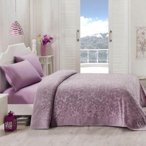 купить Покрывало-простынь махровая TAC Lyon orkide 200x220 фиолетовый