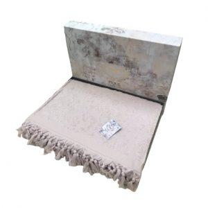 купить Махровая простынь-покрывало Пике Sikel жаккард Lilyum Penye pudra 200x220 пудра