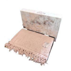 купить Махровая простынь-покрывало Пике Sikel жаккард Hitit 200x220 розовый