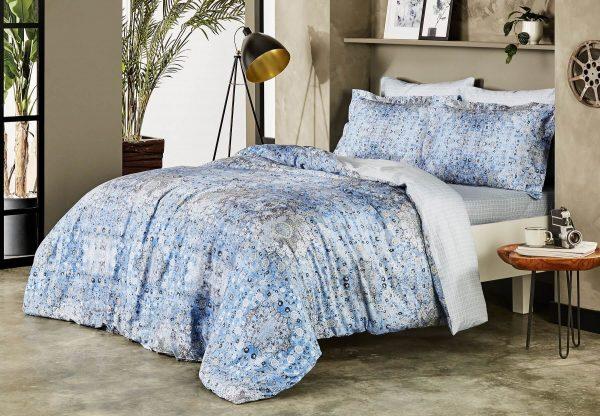 купить Постельное белье TAC сатин Digital Monza V01 mavi Синий фото