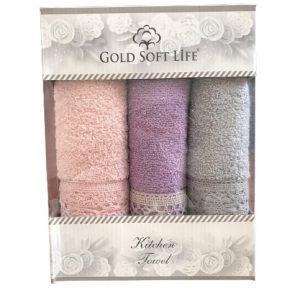 купить Набор кухонных полотенец Gold Soft Life V04 кружево махра 30x50 3 шт