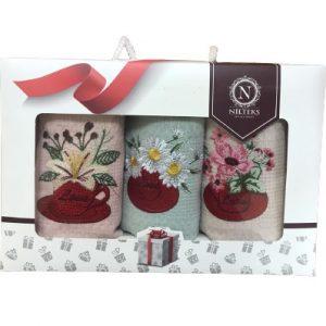 купить Набор кухонных полотенец Nilteks вафельные Bouquets 40x60 3 шт